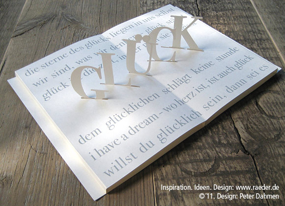 "Poetry Pop-Up Card  ""Glück"" (Fortune)"