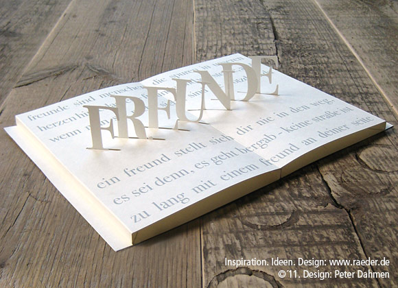 "Poetry Pop-Up Card  ""Freunde"" (friends)"