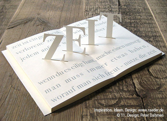 "Poetry Pop-Up Card ""Zeit"" (time)"