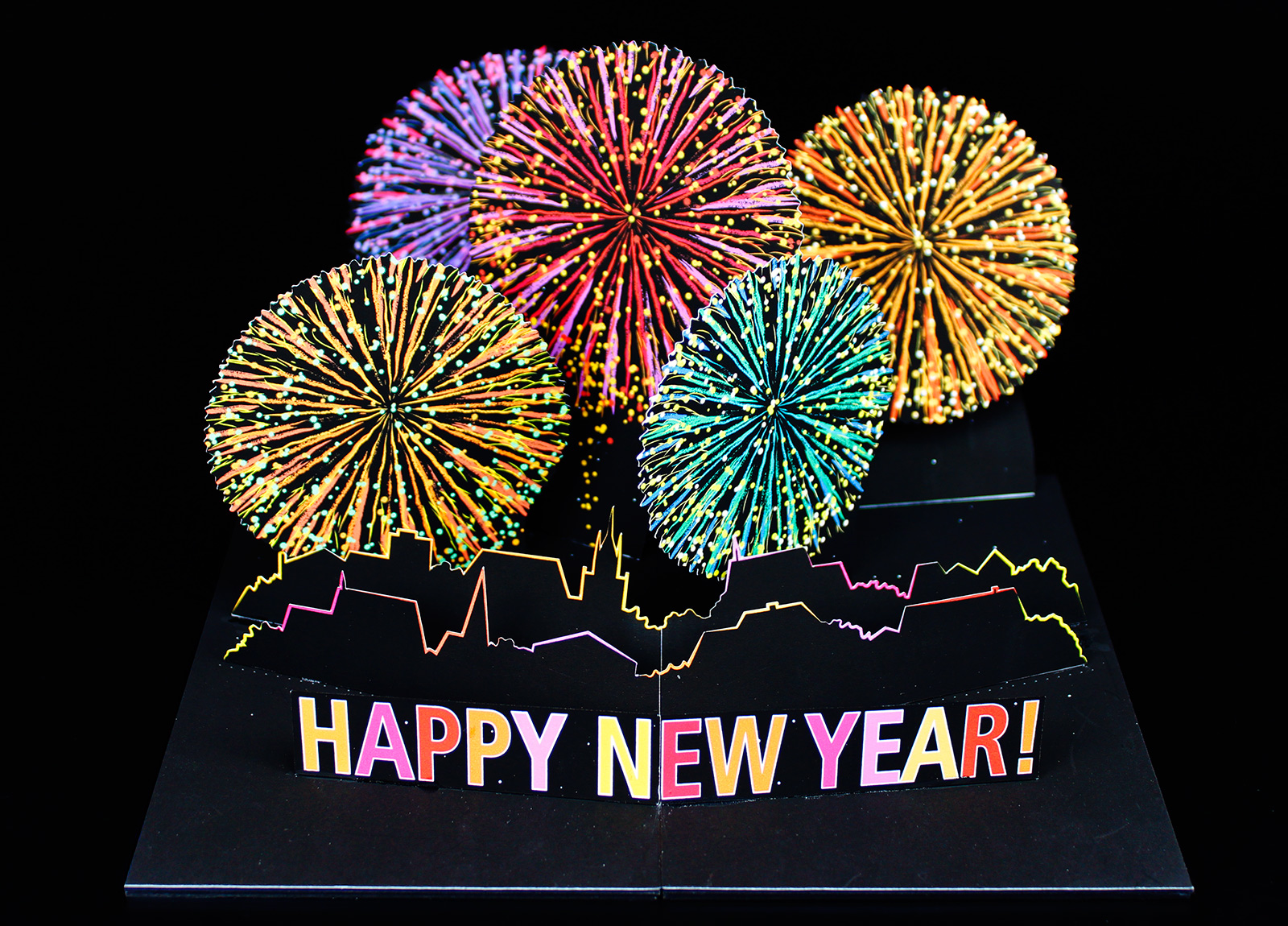 pop up card fireworks happy new year